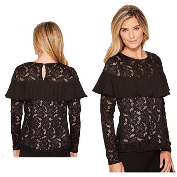 b25d0f01eb1b1a Ivanka Trump Tops - Ivanka Trump Size M Lace Ruffle Elegant Top